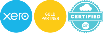 xero, gold partner, certified cip logos
